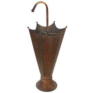 Vintage Hammered Brass Umbrella Stand For Sale