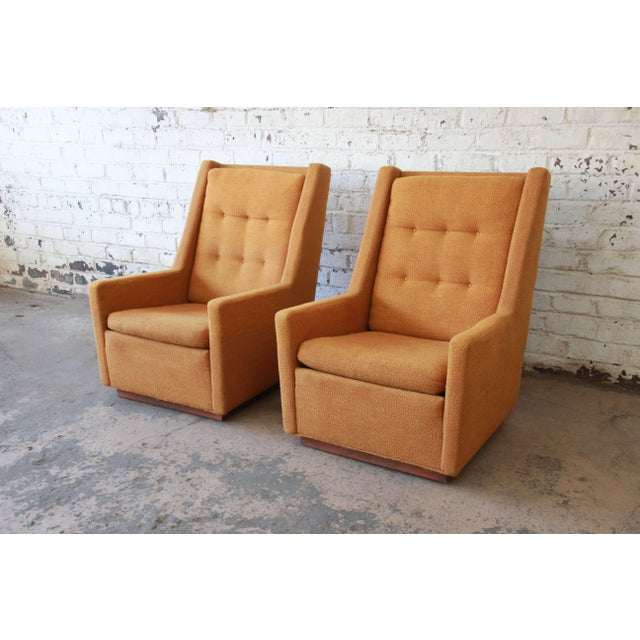 Orange Lounge Chairs and Ottoman by Milo Baughman for James, Inc 'Articulate Seating' - a Pair For Sale - Image 8 of 11