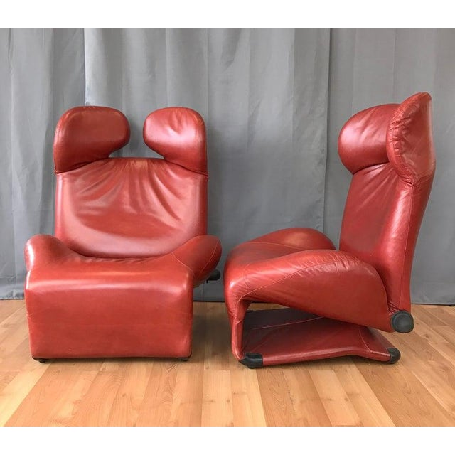 Pair of Toshiyuki Kita for Cassina Wink Convertible Leather Lounge Chairs For Sale - Image 12 of 13