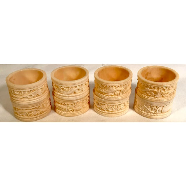 Asian Carved Dragon Motif Napkin Rings - Set of 8 For Sale In Dallas - Image 6 of 7
