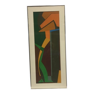 Mid 20th Century Geometric Abstract Lithograph, Framed For Sale