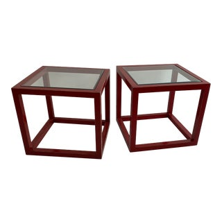 Vintage Rustic Red Wood/Glass Tables - a Pair For Sale