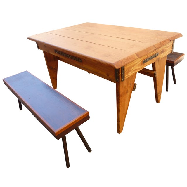 Shajan Table And Two Benches - Image 1 of 6