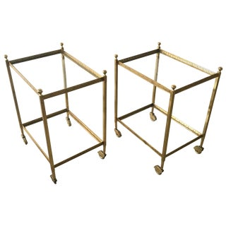 Maison Jansen Brass and Glass Two-Tier Rolling Occasional Tables or Cart - a Pair For Sale
