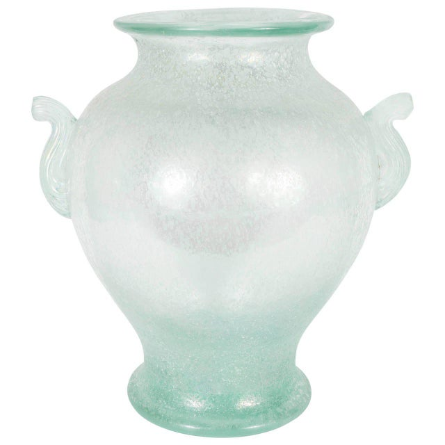 White Handblown Murano Glass Vase With Scrolled Arms in the Manner of Karl Springer For Sale - Image 8 of 8