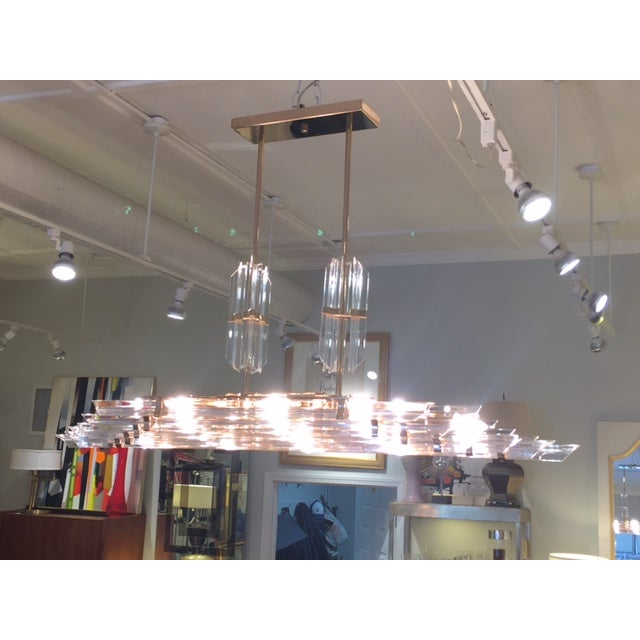 1970's Lucite and Brass Pendant Chandelier - Image 4 of 11