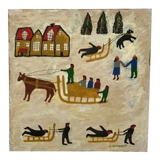Folk Art Memory Painting Signed by Aaron Birnbaum For Sale