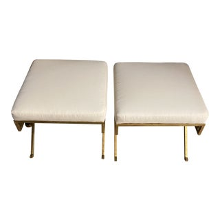 Burke Decor Upholstered White Ottomans With Gold Greek Legs - a Pair For Sale