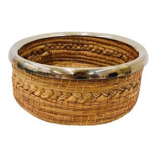 Vintage Silver Rimmed Hand Woven Basket For Sale