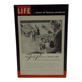 C. 1950 Life Magazine Cardboard Advertising Display Sign For Sale