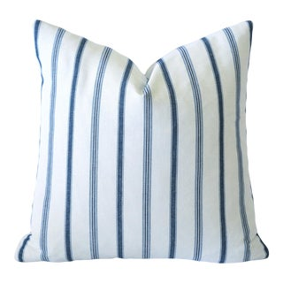 French Blue Mattress Ticking Pillow Cover 22x22 For Sale
