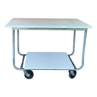 Vintage Industrial Marble Wheeled Cart For Sale
