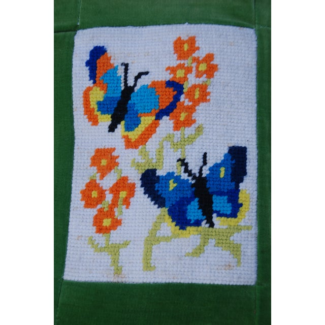 Vintage 1970's Butterfly Needlepoint Pillow - Image 4 of 6