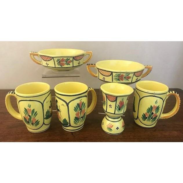 Vintage French Hand Painted HB Quimper Soleil Dish Set - 6 Piece Set For Sale - Image 10 of 10