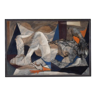 "Mid-Century Modern Morton Traylor 1950 Signed Oil Painting, ""Fallen Man"" For Sale"