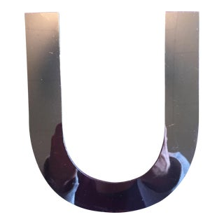 "Vintage MCM Dimensional Chrome Sign Letter ""U"" For Sale"