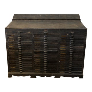 18th Century Industrial Wooden Printers Cabinet