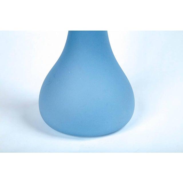 Handblown art glass vase, 20th century. Beautiful matte blue glass. Sculptural shape. Etched signature on bottom.