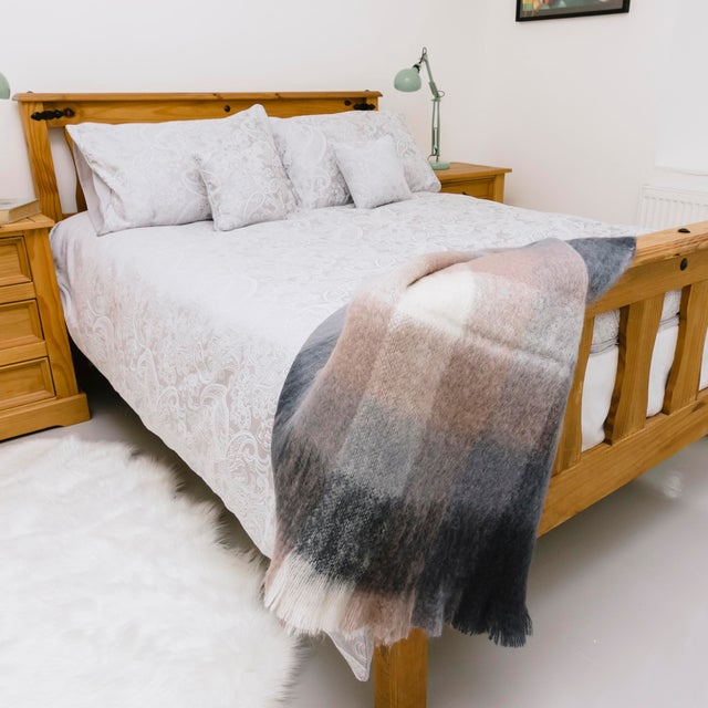 Charcoal Charcoal White & Mink Check Mohair Throw For Sale - Image 8 of 10