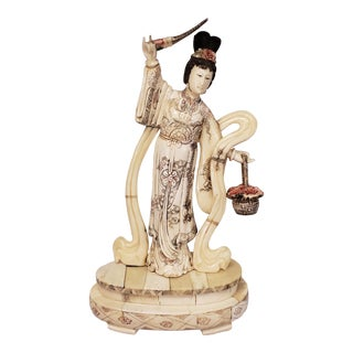 Early 20th Century Japanese Kuan Yin Performing Blessing Okimono Bovine Bone Carving For Sale