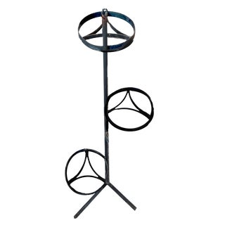1990's Black Wrought Iron 3-Tiered Sweeping Staircase Style Plant Stand For Sale