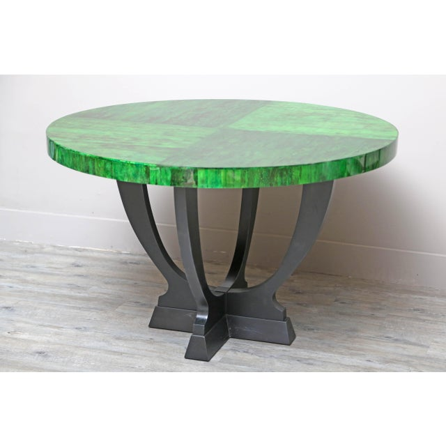 Gorgeous emerald green papaya table base with black oak base made in Belgium for Serge de Troyer. Available Now