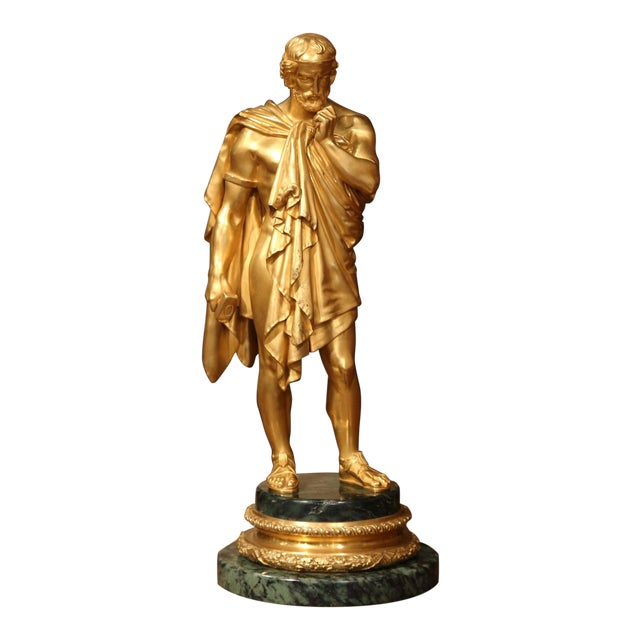 Mid-19th Century French Bronze Dore Sculptor Figure on Green Marble Base For Sale