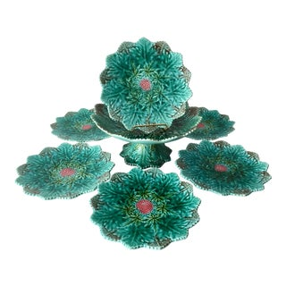 French Majolica Compote & 6 Plates