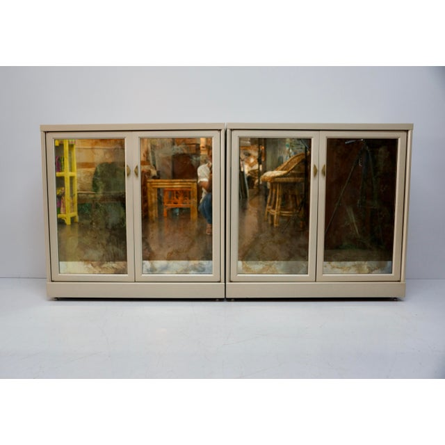 Gold Antiqued Gold Mirrored Cabinets - Set of 2 For Sale - Image 8 of 8