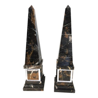 Neoclassical Marble Obelisks in Black & Brown, A-Pair