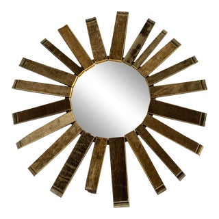 C. 2000's Rustic Sunburst Mirror With Reclaimed Wood For Sale