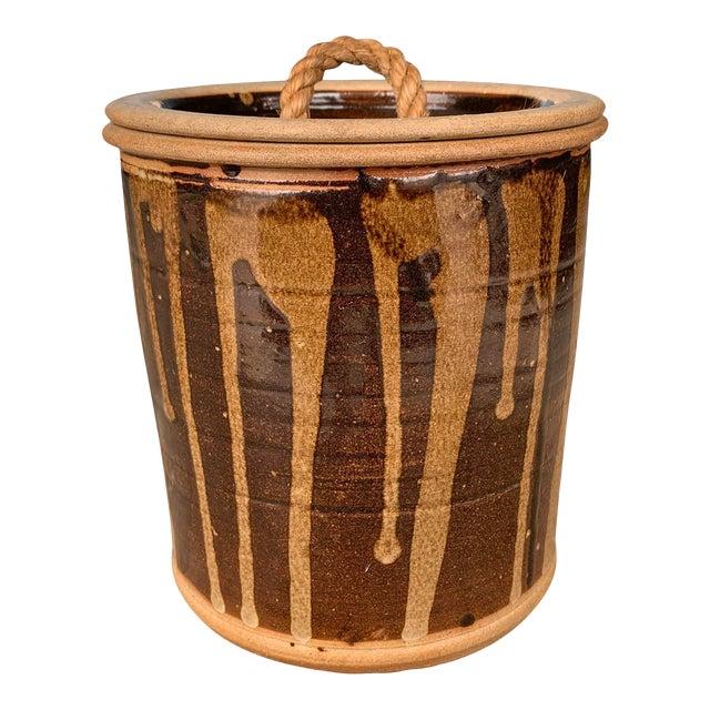 Vintage Studio Pottery Lidded Jar For Sale