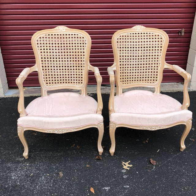 PAIR vintage CHATEAU D'ax Louis XV Bergere French country provincial chairs Made in Italy in 1990 Needs new cushions made...