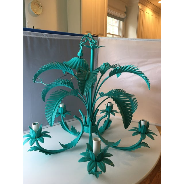 Turquoise Palm Tole Chandelier - Image 3 of 7