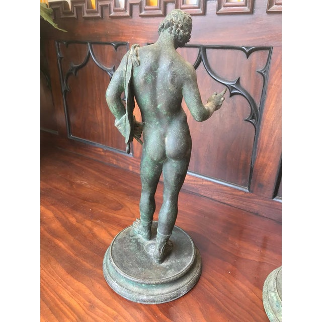 Bronze Two 19th Century Grand Tour Nude Male Statues of Roman Gods For Sale - Image 7 of 11