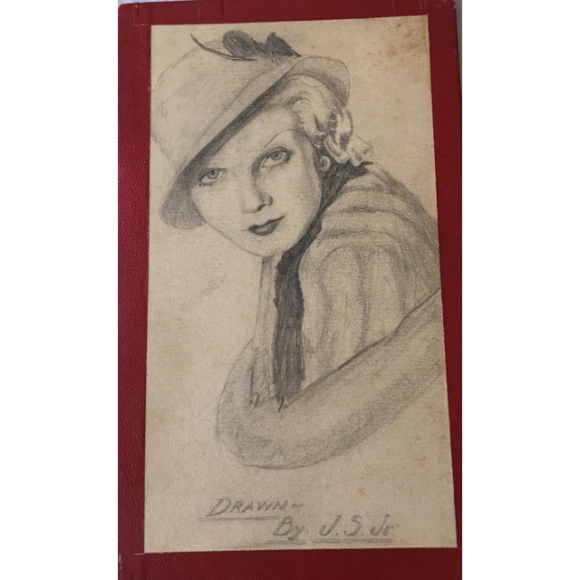 """Art Deco 1930s Art Deco """"Lady With a Hat"""" Pencil Drawing For Sale - Image 3 of 7"""