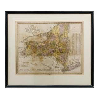 Mid 20th Century Antique Map of New York For Sale