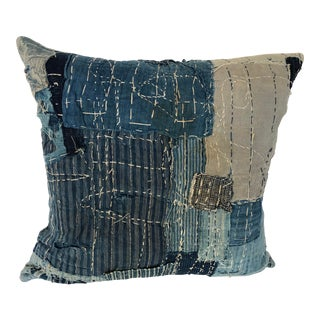 Custom Pillow Cover Cut From an Antique Japanese Boro Textile For Sale