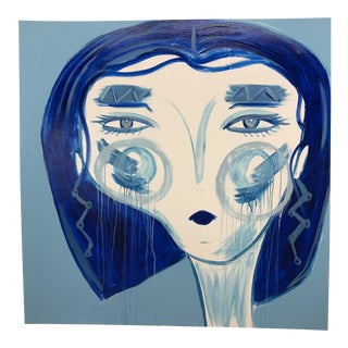 "Anastasia George ""Blue Hair Day"" Large Original Acrylic Face Painting For Sale"
