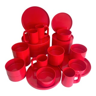 Vintage 1970's Heller Massimo & Lella Vignelli Red Melamine Iconic Stacking Modernist Dinnerware - 40 Pc Set For Sale