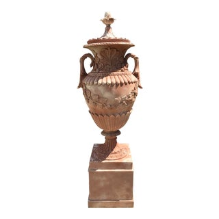 French Faux Terra Cotta Classical Urns With Base For Sale