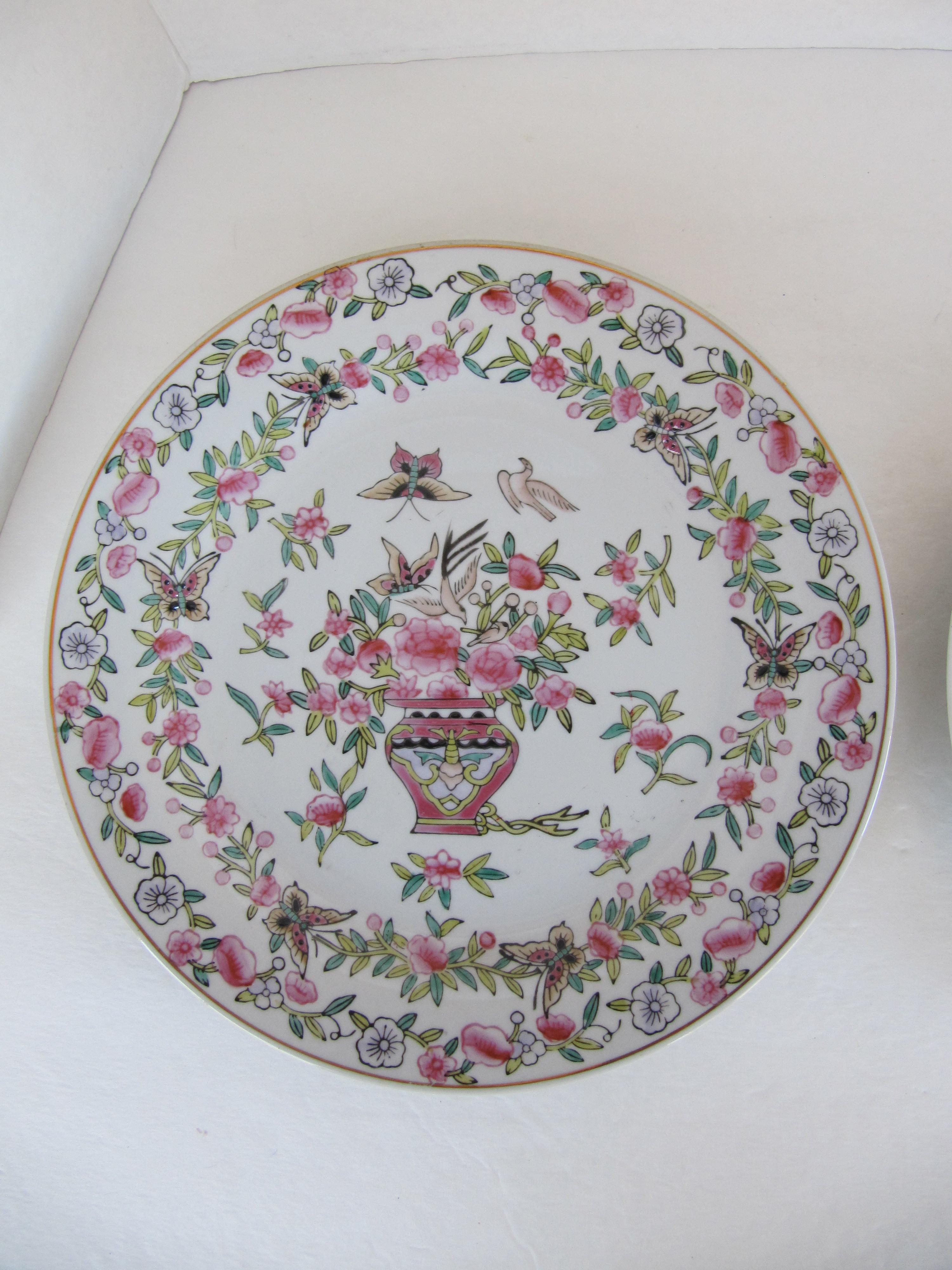 Pink Chinoiserie Decorative Wall Plates - A Pair - Image 2 of 5  sc 1 st  Chairish & Pink Chinoiserie Decorative Wall Plates - A Pair | Chairish