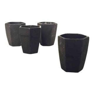 Mid Century Hexagonal Black Stoneware Candle Holders - Set of 4