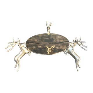Vintage Brass Pillar Candle Holder With Three Deer For Sale