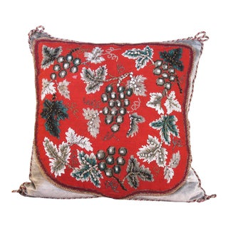 19th Century Beaded Needlepoint Pillow For Sale