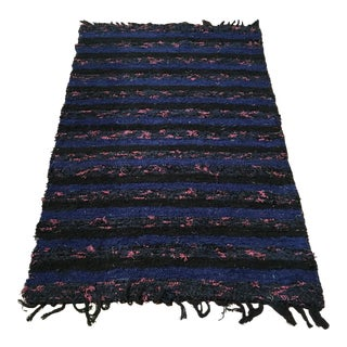Handwoven Recycled Cotton Rug - 3′5″ × 5′4″ For Sale