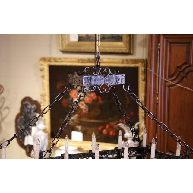 Black 19th Century French Gothic Forged Polished Iron Ten-Light Island Chandelier For Sale - Image 8 of 13