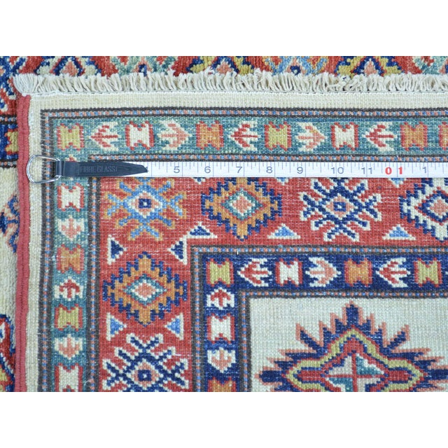 2010s Kazak Ivory Hand Knotted Pure Wool Rug- 2′10″ × 10′ For Sale - Image 5 of 6