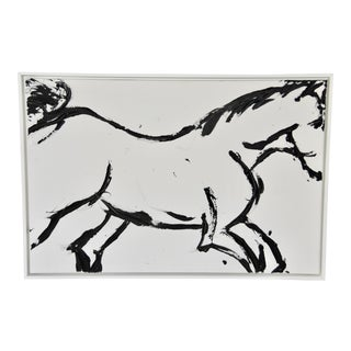 Contemporary Abstract Figurative Horse Acrylic Painting, Framed For Sale