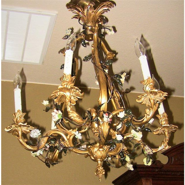 19c French Gilt Bronze Chandelier With Porcelain Flowers For Sale - Image 4 of 13